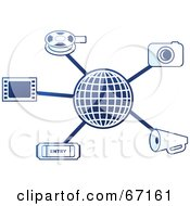 Royalty Free RF Clipart Illustration Of A Blue Molecule Media Globe Version 1