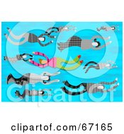 Royalty Free RF Clipart Illustration Of A Person Swimming Against The Flow Through Other People