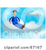 Royalty Free RF Clipart Illustration Of A Businessman In Blue Sitting On A Cloud In The Sky