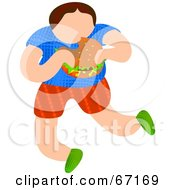 Royalty Free RF Clipart Illustration Of A Little Boy Chowing Down On A Burger by Prawny