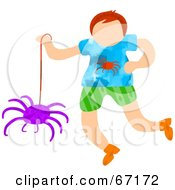 Little Boy Playing With A Spider