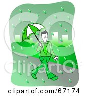 Royalty Free RF Clipart Illustration Of A Businessman Walking Through A Rainy Green City by Prawny