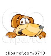 Brown Dog Mascot Cartoon Character Peeking Over A Surface Clipart Picture by Toons4Biz