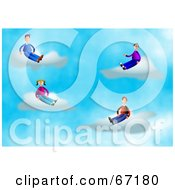 Royalty Free RF Clipart Illustration Of A Group Of Men And Women Sitting On Clouds