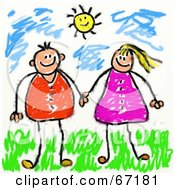 Royalty Free RF Clipart Illustration Of A Couple Or Siblings Holding Hands