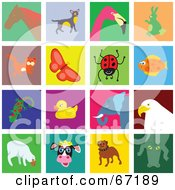 Digital Collage Of Colorful Animal Tiles