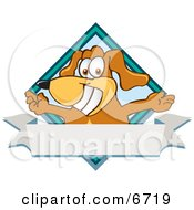 Brown Dog Mascot Cartoon Character With Open Arms Over A Blank White Label Clipart Picture by Toons4Biz