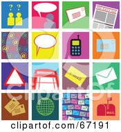Royalty Free RF Clipart Illustration Of A Digital Collage Of Colorful Communication Tiles by Prawny