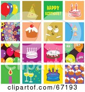 Royalty Free RF Clipart Illustration Of A Digital Collage Of Colorful Birthday Tiles by Prawny
