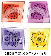 Royalty Free RF Clipart Illustration Of A Digital Collage Of Square Flower Icons by Prawny