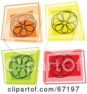 Royalty Free RF Clipart Illustration Of A Digital Collage Of Square Orange Lemon And Lime Icons by Prawny