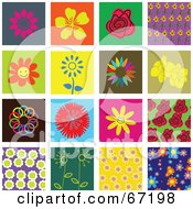 Royalty Free RF Clipart Illustration Of A Digital Collage Of Colorful Flower Tiles by Prawny