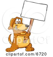 Royalty-free Clip Art: Brown Dog Mascot Cartoon Character Holding A Blank White Sign