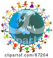 Royalty-Free (RF) Clipart Illustration of Global Kids Holding Hands Around A European Globe by Prawny