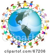 Royalty Free RF Clipart Illustration Of Global Kids Holding Hands Around An America Globe by Prawny