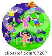 Royalty Free RF Clipart Illustration Of Happy European Kids Dancing On The Globe