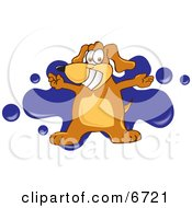 Brown Dog Mascot Cartoon Character With Open Arms Over A Blue Splatter