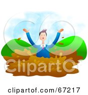 Royalty Free RF Clipart Illustration Of A Businessman Drowning In Mud