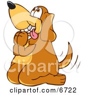 Brown Dog Mascot Cartoon Character Begging For A Walk Or Treats