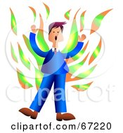 Royalty Free RF Clipart Illustration Of A Businessman In A Blue Suit Screaming While Engulfed In Flames