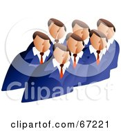 Royalty Free RF Clipart Illustration Of A Board Meeting Of Men In Matching Blue Suits