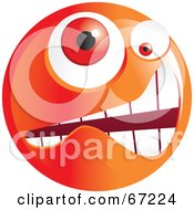 Royalty Free RF Clipart Illustration Of A Crazy Mad Orange Emoticon Face Version 4