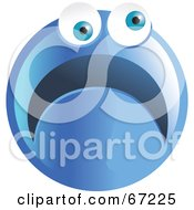 Royalty Free RF Clipart Illustration Of A Scared Blue Emoticon Face Version 3