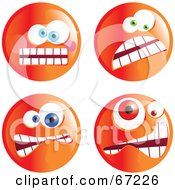 Royalty Free RF Clipart Illustration Of A Digital Collage Of Four Crazy Mad Orange Emoticon Faces