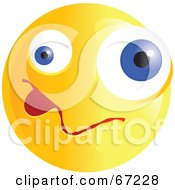 Royalty Free RF Clipart Illustration Of A Yellow Confused Emoticon Face Version 3