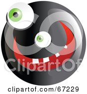 Royalty Free RF Clipart Illustration Of A Black Happy Smiley Face Version 3