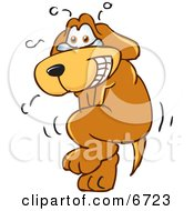 Brown Dog Mascot Cartoon Character Trying To Hold It In But Has To Go Pee