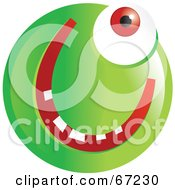 Royalty Free RF Clipart Illustration Of A Green Cyclops Emoticon Face by Prawny