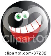 Royalty Free RF Clipart Illustration Of A Black Happy Smiley Face Version 1