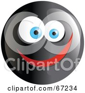 Royalty Free RF Clipart Illustration Of A Black Happy Smiley Face Version 4