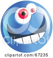 Royalty Free RF Clipart Illustration Of A Happy Blue Emoticon Face Smiley