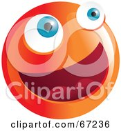 Royalty Free RF Clipart Illustration Of A Happy Orange Emoticon Face Smiley