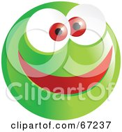Royalty Free RF Clipart Illustration Of A Happy Green Emoticon Face Smiley