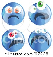 Royalty Free RF Clipart Illustration Of A Digital Collage Of Four Scared Blue Emoticon Faces
