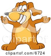 Brown Dog Mascot Cartoon Character With Open Arms