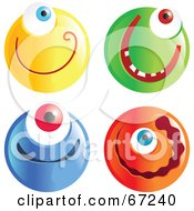 Royalty Free RF Clipart Illustration Of A Digital Collage Of Cyclops Emoticon Faces