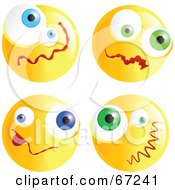 Royalty Free RF Clipart Illustration Of A Digital Collage Of Yellow Confused Emoticon Faces