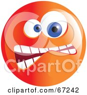 Royalty Free RF Clipart Illustration Of A Crazy Mad Orange Emoticon Face Version 3