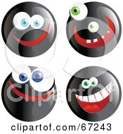 Royalty Free RF Clipart Illustration Of A Digital Collage Of Four Black Happy Smiley Faces