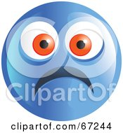 Royalty Free RF Clipart Illustration Of A Scared Blue Emoticon Face Version 1