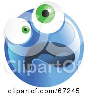 Royalty Free RF Clipart Illustration Of A Scared Blue Emoticon Face Version 4
