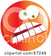 Royalty Free RF Clipart Illustration Of A Crazy Mad Orange Emoticon Face Version 2