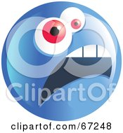 Royalty Free RF Clipart Illustration Of A Scared Blue Emoticon Face Version 2