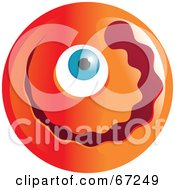 Royalty Free RF Clipart Illustration Of An Orange Cyclops Emoticon Face