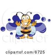 Clipart Picture Of A Bee Mascot Cartoon Character Logo With A Blue Paint Splat