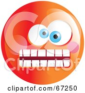 Royalty Free RF Clipart Illustration Of A Crazy Mad Orange Emoticon Face Version 1